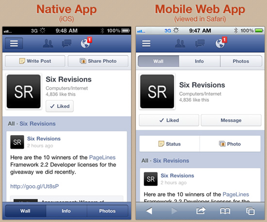 User interface comparison between the native Facebook app and through Safari for iOS. image courtesy of ox86.tumblr.com