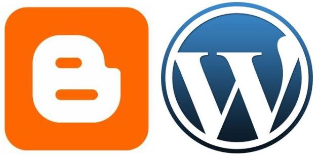 Blogger and WordPress logos. Image credit: swallowsndaggers.net