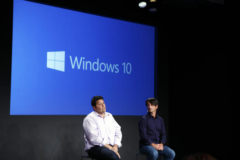 Microsoft VPs Joe Belfiore (right) and Terry Myerson  presenting a live demo of Windows 10 at a press event in San Francisco, Calif., on September 30. Image credit: www.cnet.com