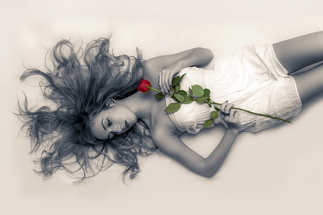 girl and rose